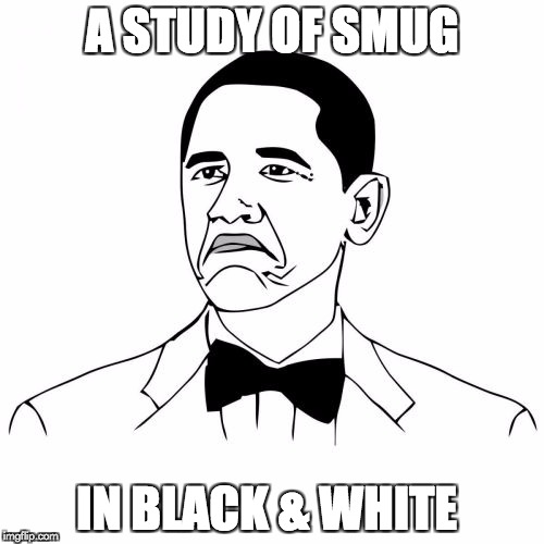 Not Bad Obama | A STUDY OF SMUG IN BLACK & WHITE | image tagged in memes,not bad obama | made w/ Imgflip meme maker