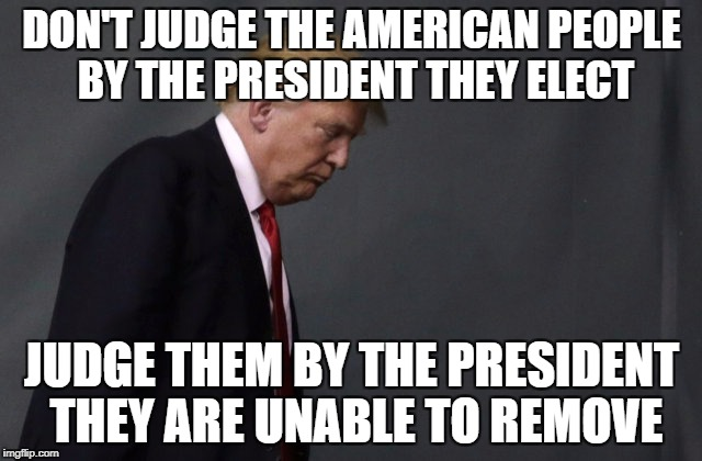 We all make mistakes, its how we fix them that matters. | DON'T JUDGE THE AMERICAN PEOPLE BY THE PRESIDENT THEY ELECT JUDGE THEM BY THE PRESIDENT THEY ARE UNABLE TO REMOVE | image tagged in sad trump | made w/ Imgflip meme maker