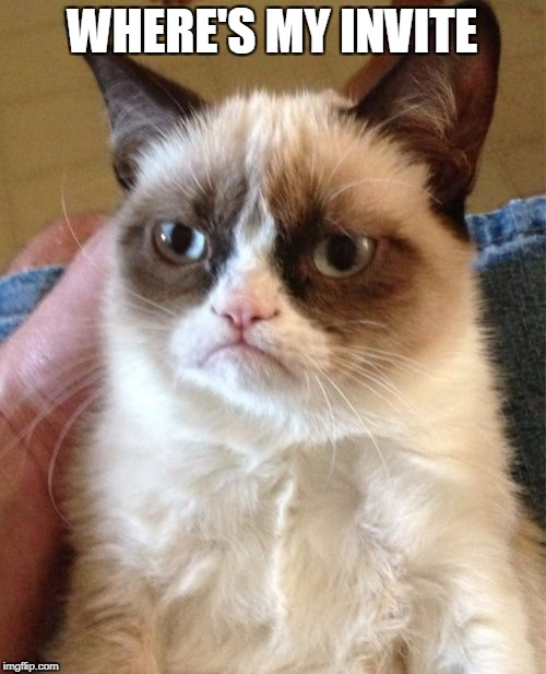 Grumpy Cat Meme | WHERE'S MY INVITE | image tagged in memes,grumpy cat | made w/ Imgflip meme maker