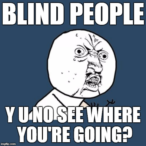 Y U No Meme | BLIND PEOPLE Y U NO SEE WHERE YOU'RE GOING? | image tagged in memes,y u no | made w/ Imgflip meme maker