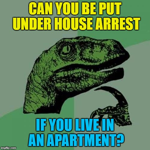 Legal loopholes, legal loopholes everywhere... :) | CAN YOU BE PUT UNDER HOUSE ARREST IF YOU LIVE IN AN APARTMENT? | image tagged in memes,philosoraptor,house arrest,crime,mugabe,zimbabwe | made w/ Imgflip meme maker