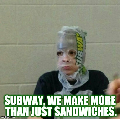 Superhero Week, a Pipe_Picasso and Madolite event Nov 12-18th. | SUBWAY, WE MAKE MORE THAN JUST SANDWICHES. | image tagged in superhero kid,superhero week,bad meme,subway,memes | made w/ Imgflip meme maker