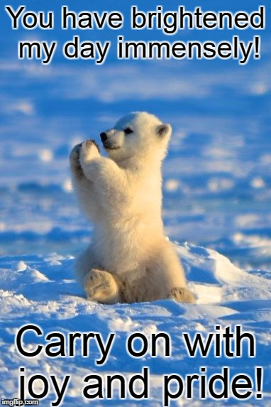 You have brightened my day immensely! Carry on with joy and pride! | image tagged in polar bear clapping | made w/ Imgflip meme maker