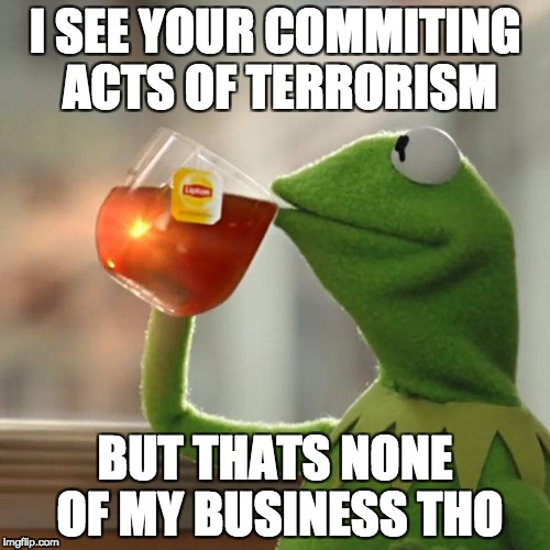 But Thats None Of My Business Meme | I SEE YOUR COMMITING ACTS OF TERRORISM BUT THATS NONE OF MY BUSINESS THO | image tagged in memes,but thats none of my business,kermit the frog | made w/ Imgflip meme maker
