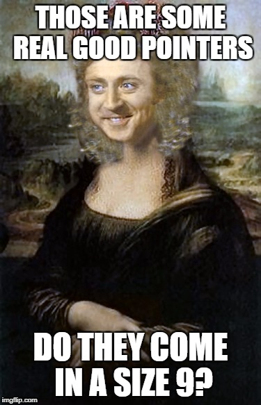 Monalisa | THOSE ARE SOME REAL GOOD POINTERS DO THEY COME IN A SIZE 9? | image tagged in monalisa | made w/ Imgflip meme maker