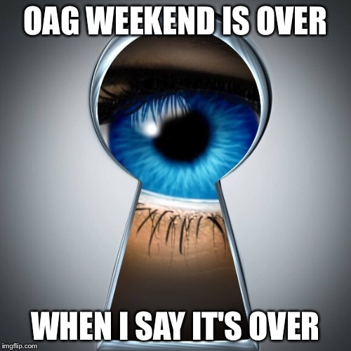 What'cha doin'? | OAG WEEKEND IS OVER WHEN I SAY IT'S OVER | image tagged in overly attached girlfriend weekend | made w/ Imgflip meme maker