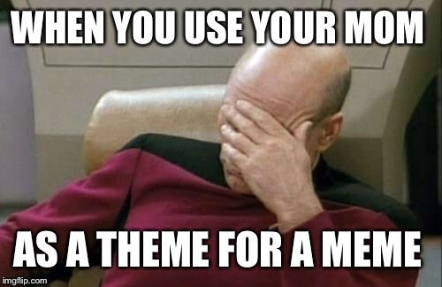 Captain Picard Facepalm Meme | WHEN YOU USE YOUR MOM AS A THEME FOR A MEME | image tagged in memes,captain picard facepalm | made w/ Imgflip meme maker