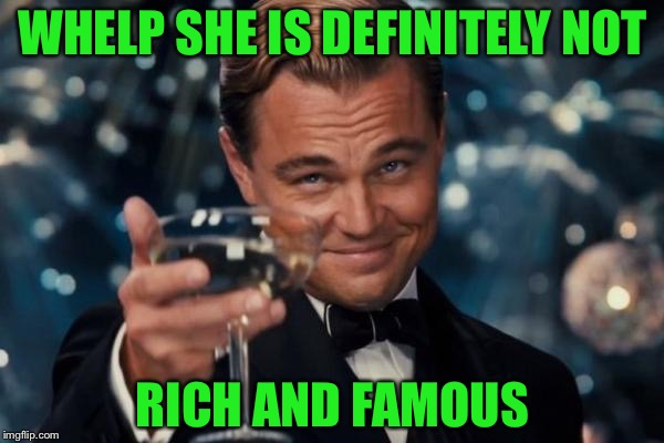 Leonardo Dicaprio Cheers Meme | WHELP SHE IS DEFINITELY NOT RICH AND FAMOUS | image tagged in memes,leonardo dicaprio cheers | made w/ Imgflip meme maker
