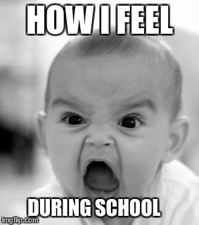School Hater | HOW I FEEL DURING SCHOOL | image tagged in memes,angry baby | made w/ Imgflip meme maker