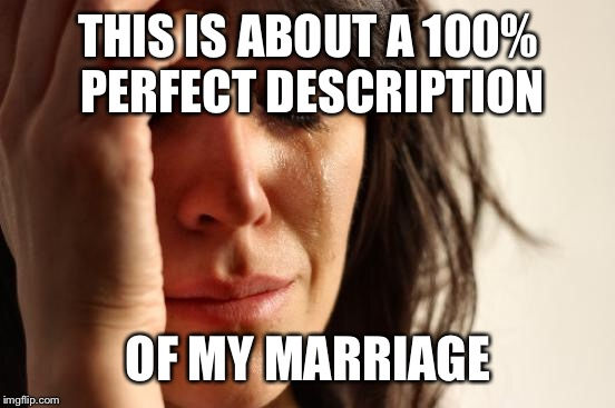 First World Problems Meme | THIS IS ABOUT A 100% PERFECT DESCRIPTION OF MY MARRIAGE | image tagged in memes,first world problems | made w/ Imgflip meme maker