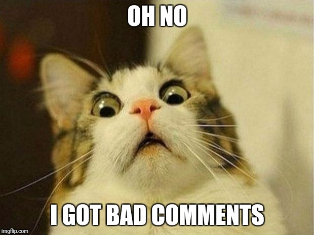 Scared Cat Meme | OH NO I GOT BAD COMMENTS | image tagged in memes,scared cat | made w/ Imgflip meme maker