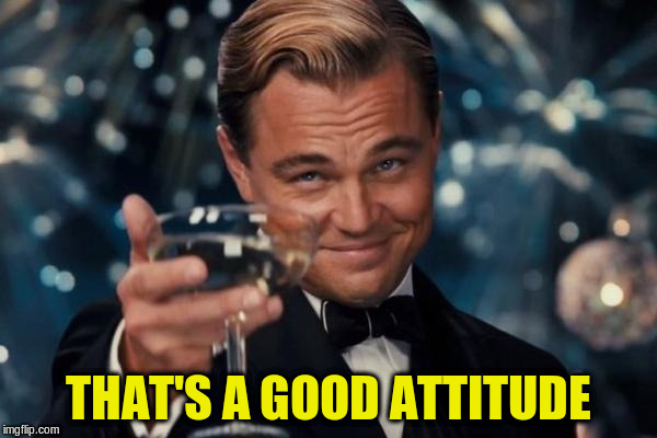 Leonardo Dicaprio Cheers Meme | THAT'S A GOOD ATTITUDE | image tagged in memes,leonardo dicaprio cheers | made w/ Imgflip meme maker