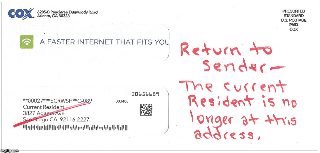 Return to Sender | image tagged in usps,post office,cable | made w/ Imgflip meme maker