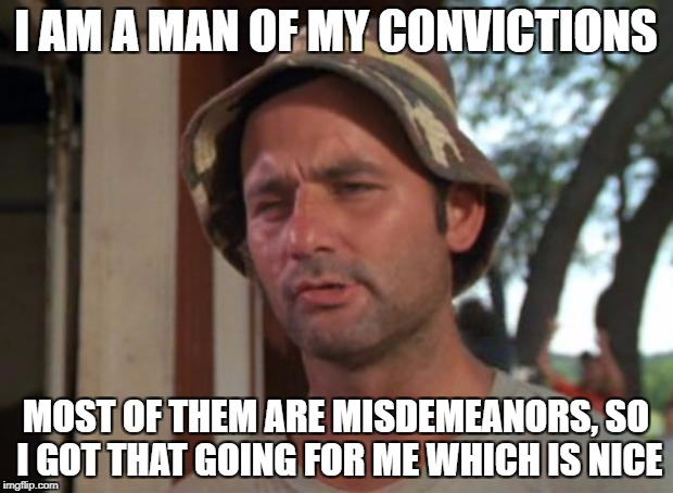 So I Got That Goin For Me Which Is Nice Meme | I AM A MAN OF MY CONVICTIONS MOST OF THEM ARE MISDEMEANORS, SO I GOT THAT GOING FOR ME WHICH IS NICE | image tagged in memes,so i got that goin for me which is nice | made w/ Imgflip meme maker