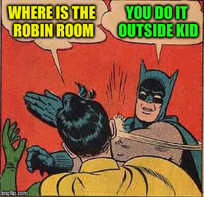 Batman Slapping Robin Meme | WHERE IS THE ROBIN ROOM YOU DO IT OUTSIDE KID | image tagged in memes,batman slapping robin | made w/ Imgflip meme maker