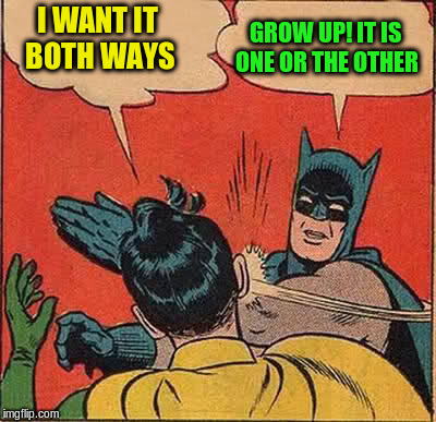 Batman Slapping Robin Meme | I WANT IT BOTH WAYS GROW UP! IT IS ONE OR THE OTHER | image tagged in memes,batman slapping robin | made w/ Imgflip meme maker