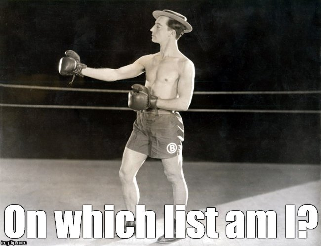 Clown Prince, Buster | On which list am I? | image tagged in clown prince,buster | made w/ Imgflip meme maker