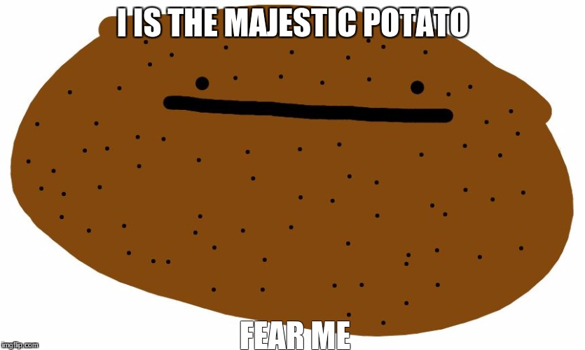 Majestic Potato With Acne | I IS THE MAJESTIC POTATO FEAR ME | image tagged in potato with acne | made w/ Imgflip meme maker