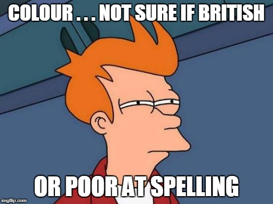 Futurama Fry Meme | COLOUR . . . NOT SURE IF BRITISH OR POOR AT SPELLING | image tagged in memes,futurama fry | made w/ Imgflip meme maker