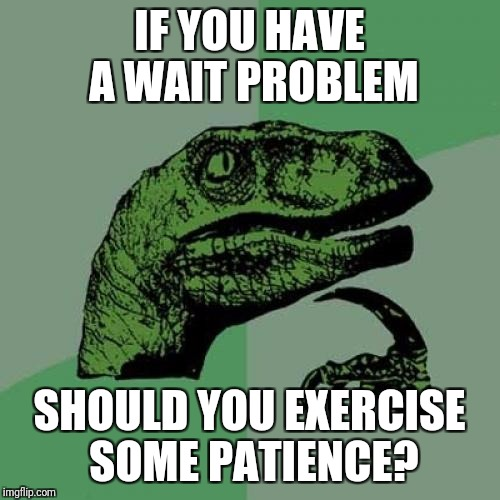 Philosoraptor Meme | IF YOU HAVE A WAIT PROBLEM SHOULD YOU EXERCISE SOME PATIENCE? | image tagged in memes,philosoraptor | made w/ Imgflip meme maker
