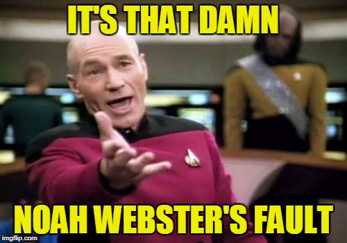 Picard Wtf Meme | IT'S THAT DAMN NOAH WEBSTER'S FAULT | image tagged in memes,picard wtf | made w/ Imgflip meme maker