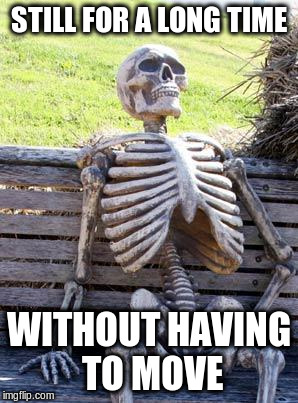 Waiting Skeleton Meme | STILL FOR A LONG TIME WITHOUT HAVING TO MOVE | image tagged in memes,waiting skeleton | made w/ Imgflip meme maker