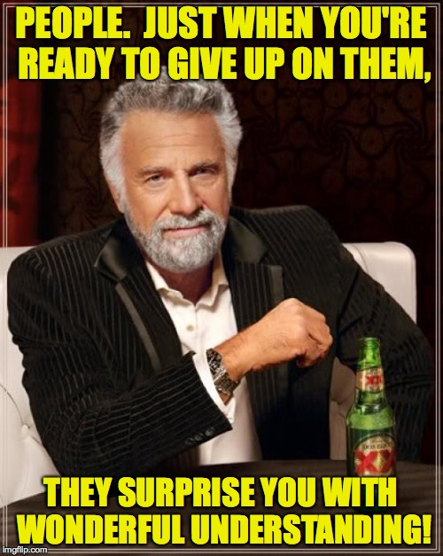The Most Interesting Man In The World Meme | PEOPLE.  JUST WHEN YOU'RE READY TO GIVE UP ON THEM, THEY SURPRISE YOU WITH WONDERFUL UNDERSTANDING! | image tagged in memes,the most interesting man in the world | made w/ Imgflip meme maker