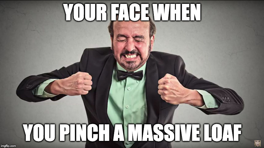 YOUR FACE WHEN YOU PINCH A MASSIVE LOAF | image tagged in your face when | made w/ Imgflip meme maker