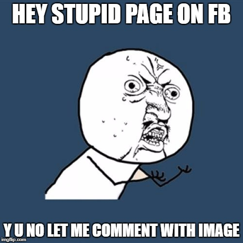 Y U No Meme | HEY STUPID PAGE ON FB Y U NO LET ME COMMENT WITH IMAGE | image tagged in memes,y u no | made w/ Imgflip meme maker