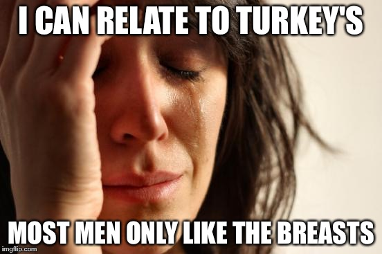 First World Problems Meme | I CAN RELATE TO TURKEY'S MOST MEN ONLY LIKE THE BREASTS | image tagged in memes,first world problems | made w/ Imgflip meme maker