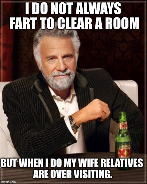 The Most Interesting Man In The World Meme | I DO NOT ALWAYS FART TO CLEAR A ROOM BUT WHEN I DO MY WIFE RELATIVES ARE OVER VISITING. | image tagged in memes,the most interesting man in the world | made w/ Imgflip meme maker