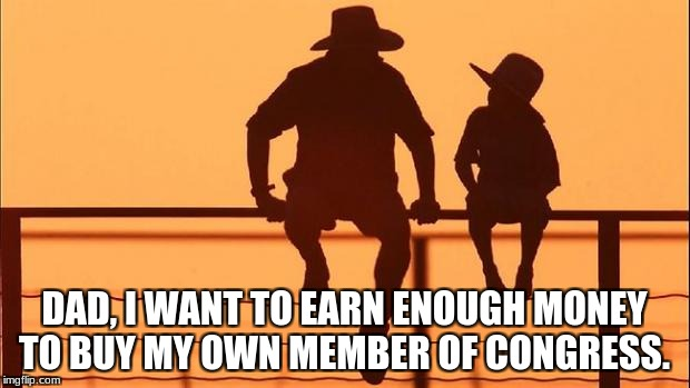 Cowboy father and son | DAD, I WANT TO EARN ENOUGH MONEY TO BUY MY OWN MEMBER OF CONGRESS. | image tagged in cowboy father and son | made w/ Imgflip meme maker