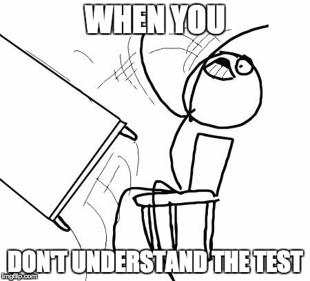 Table Flip Guy Meme | WHEN YOU DON'T UNDERSTAND THE TEST | image tagged in memes,table flip guy | made w/ Imgflip meme maker