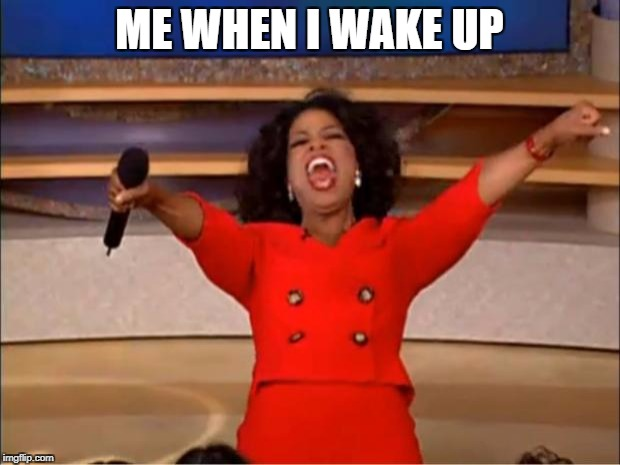 Oprah You Get A Meme | ME WHEN I WAKE UP | image tagged in memes,oprah you get a | made w/ Imgflip meme maker