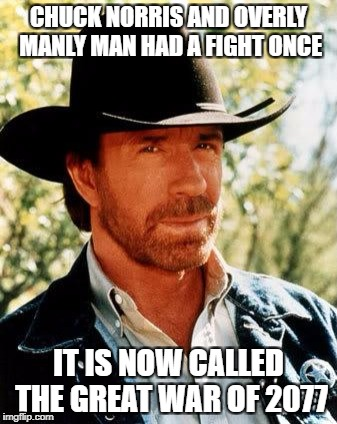 Chuck Norris Meme | CHUCK NORRIS AND OVERLY MANLY MAN HAD A FIGHT ONCE IT IS NOW CALLED THE GREAT WAR OF 2077 | image tagged in memes,chuck norris | made w/ Imgflip meme maker