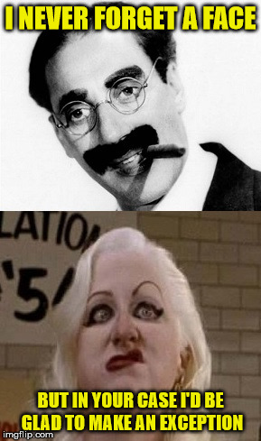 OMG!!! My eyes...my eyes!!! | I NEVER FORGET A FACE BUT IN YOUR CASE I'D BE GLAD TO MAKE AN EXCEPTION | image tagged in groucho marx,memes,ugly woman,dang,woof | made w/ Imgflip meme maker