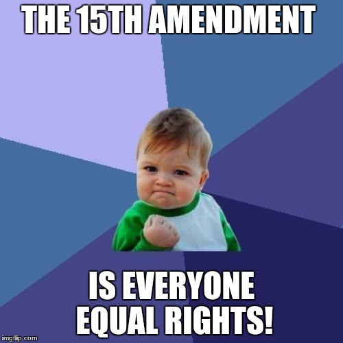 Success Kid Meme | THE 15TH AMENDMENT IS EVERYONE EQUAL RIGHTS! | image tagged in memes,success kid | made w/ Imgflip meme maker