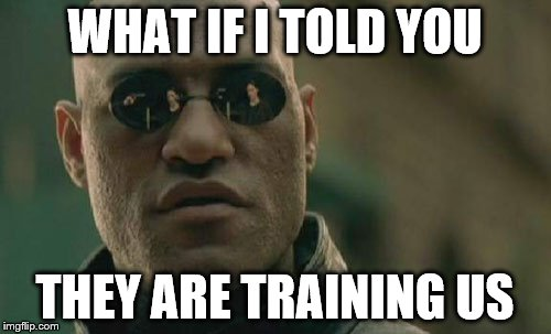 Matrix Morpheus Meme | WHAT IF I TOLD YOU THEY ARE TRAINING US | image tagged in memes,matrix morpheus | made w/ Imgflip meme maker