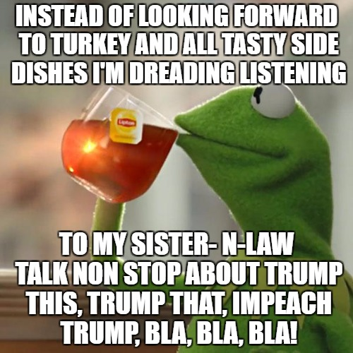 Family together talking politics hell yes!  | INSTEAD OF LOOKING FORWARD TO TURKEY AND ALL TASTY SIDE DISHES I'M DREADING LISTENING TO MY SISTER- N-LAW TALK NON STOP ABOUT TRUMP THIS, TR | image tagged in memes,but thats none of my business,kermit the frog,just letting you know | made w/ Imgflip meme maker