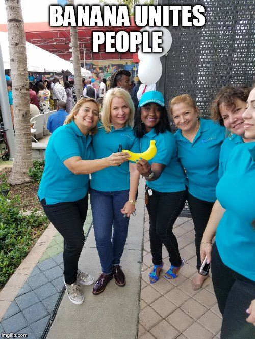 Banana Power | BANANA UNITES PEOPLE | image tagged in banana,people,revolution | made w/ Imgflip meme maker
