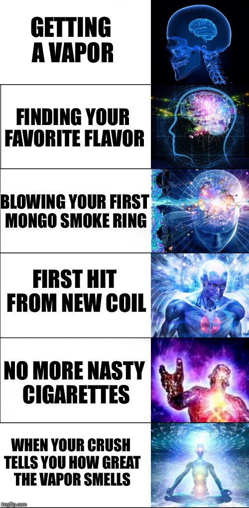 Expanding Lungs | GETTING A VAPOR FINDING YOUR FAVORITE FLAVOR BLOWING YOUR FIRST MONGO SMOKE RING FIRST HIT FROM NEW COIL NO MORE NASTY CIGARETTES WHEN YOUR  | image tagged in vapor,expanding brain,crush,cigarettes,smoking | made w/ Imgflip meme maker