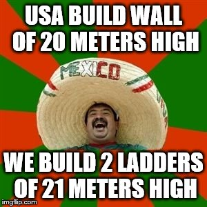 succesful mexican | USA BUILD WALL OF 20 METERS HIGH WE BUILD 2 LADDERS OF 21 METERS HIGH | image tagged in succesful mexican | made w/ Imgflip meme maker