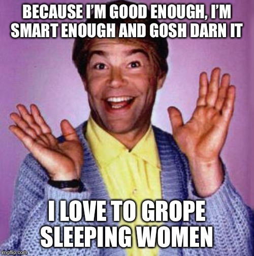 BECAUSE I'M GOOD ENOUGH, I'M SMART ENOUGH AND GOSH DARN IT I LOVE TO GROPE SLEEPING WOMEN | image tagged in al smalley | made w/ Imgflip meme maker