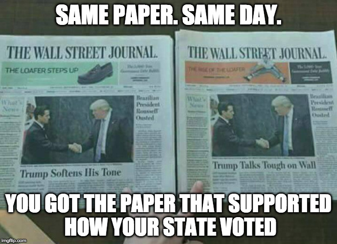 Fake New | SAME PAPER. SAME DAY. YOU GOT THE PAPER THAT SUPPORTED HOW YOUR STATE VOTED | image tagged in fake news,donald trump,wall,mexico,hillary clinton,bernie sanders | made w/ Imgflip meme maker