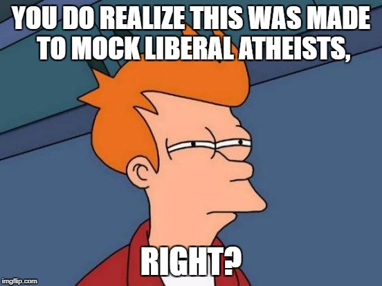 Futurama Fry Meme | YOU DO REALIZE THIS WAS MADE TO MOCK LIBERAL ATHEISTS, RIGHT? | image tagged in memes,futurama fry | made w/ Imgflip meme maker