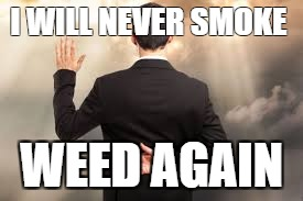 I WILL NEVER SMOKE WEED AGAIN | image tagged in 420 dishonest cheating | made w/ Imgflip meme maker