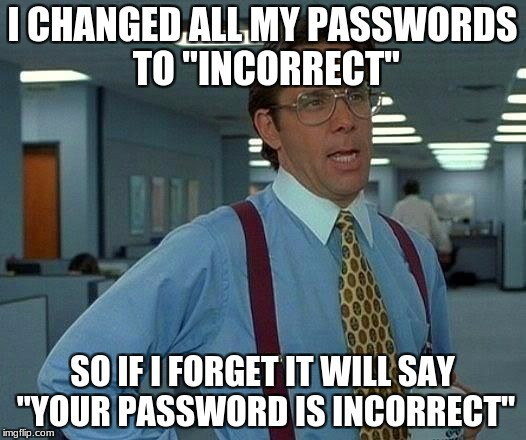 "That Would Be Great Meme | I CHANGED ALL MY PASSWORDS TO ""INCORRECT"" SO IF I FORGET IT WILL SAY ""YOUR PASSWORD IS INCORRECT"" 