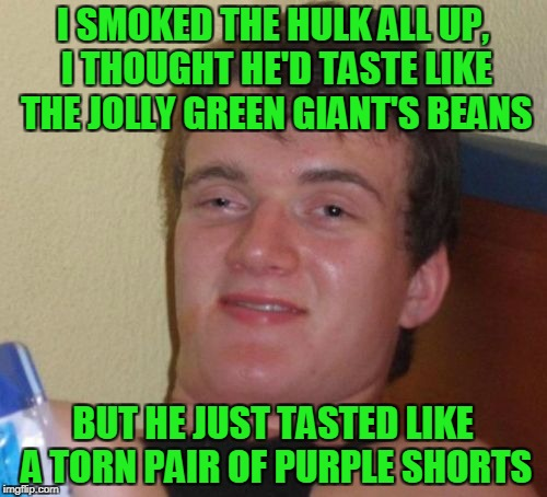 10 Guy Meme | I SMOKED THE HULK ALL UP, I THOUGHT HE'D TASTE LIKE THE JOLLY GREEN GIANT'S BEANS BUT HE JUST TASTED LIKE A TORN PAIR OF PURPLE SHORTS | image tagged in memes,10 guy | made w/ Imgflip meme maker