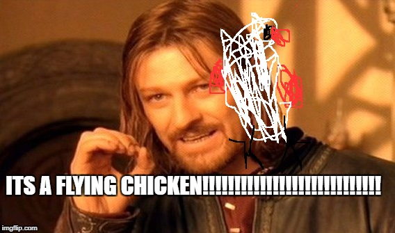 One Does Not Simply Meme | ITS A FLYING CHICKEN!!!!!!!!!!!!!!!!!!!!!!!!!!!! | image tagged in memes,one does not simply | made w/ Imgflip meme maker