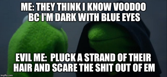 Evil Kermit Meme | ME: THEY THINK I KNOW VOODOO BC I'M DARK WITH BLUE EYES EVIL ME:  PLUCK A STRAND OF THEIR HAIR AND SCARE THE SHIT OUT OF EM | image tagged in evil kermit | made w/ Imgflip meme maker